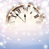 Vintage clock over snowfall christmas background. New year vector illustration.