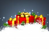 Abstract christmas background with fir branches and realistic gift boxes. Vector illustration.