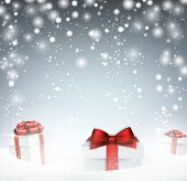 Winter abstract background with snow and gift boxes. Christmas vector wallpaper. Eps10.