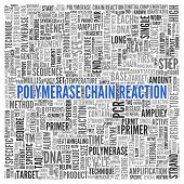 Close up Blue POLYMERASE CHAIN REACTION Text at the Center of Word Tag Cloud on White Background.