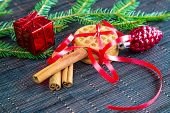 Christmas background with cookies, cinnamon  and decorations