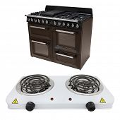 The image of modern stove under the white background