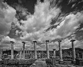 Clouds Over Perga Ruins In Monotone