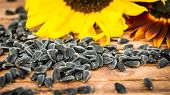 stock photo of sunflower-seeds  - Yellow and red sunflowers and sunflower seeds on a wooden background - JPG