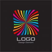 Colorful Bright Rainbow Spiral Logo on Black Background.