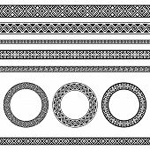 Greek traditional meander border and round frames set