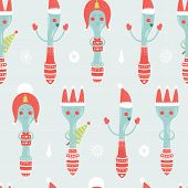 Vector christmas background with spoon, plug, knife