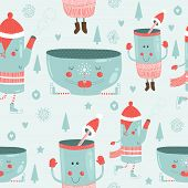 Vector christmas background with mugs
