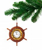 Christmas tree and clock in wood helm isolated on white background