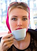 Cup Businesswoman Portrait