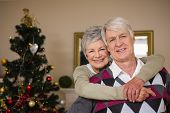 Senior couple smiling beside their christmas tree at home in the living room