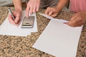 Senior couple paying their bills at home in the kitchen