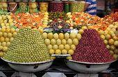 Fresh olives and bottled food