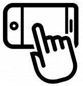 Black vector outline sign of horizontally situated smartphone under index finger