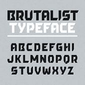 Brutalist typeface, alphabet. Vector.