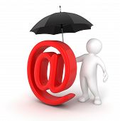 Man with Umbrella and E-mail Sign (clipping path included)