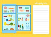 Shopping List Flat Style Refrigerator Illustration