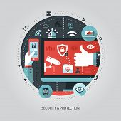 Illustration of flat design business illustration with security
