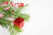 Christmas Tree Branch And Red Decoration