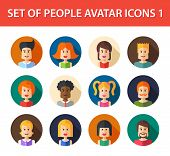stock photo of avatar  - Set of vector isolated flat design people icon avatars for social network and your design - JPG
