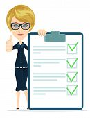 Businesswoman or Teacher Holding a Paper With Green Flags, Vector
