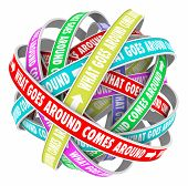 What Goes Around Comes Around saying or quote on colorful ribbons in a cycle or circle to illustrate repeating reaction or cyclical karma and justice