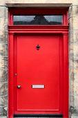 Red British House Door
