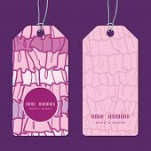 Vector pink ruffle fabric stripes vertical round frame pattern tags set