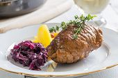 Roulade Of Beef With Potatoes And Red Cabbage