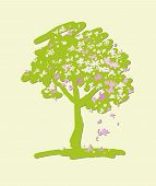 Stylized Flowering Crabapple Tree. Vector Illustration.