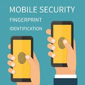 stock photo of fingerprint  - Mobile Internet Secutiry - JPG