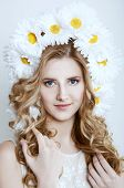 Smiling Blonde Woman With A Camomile Wreath