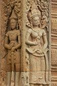 Stone carving at Prasat Sikhoraphun temple, Surin, Thailand.