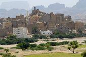 Traditional Yemeni mud brick buildings town, Hadramaut valley, Yemen.