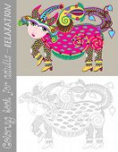 coloring book page for adults with fantastic creature