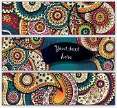 Paisley batik background. Ethnic tribal cards.