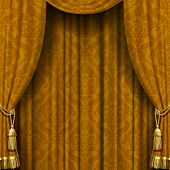 Yellow-brown curtain with Baroque ornament. Square theater background. Artistic poster