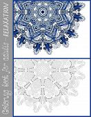 coloring book page for adults - flower paisley design