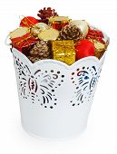 Golden Christmas Gifts And Dumps In Decorative White Bucket