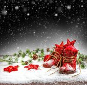 Vintage Christmas Decoration With Antique Baby Shoes