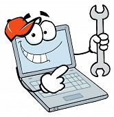 Laptop Guy Holding a Wrench