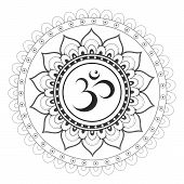 Sanskrit Sacred Symbol Om With Ethnic Ornament