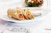 tortilla on Christmas table