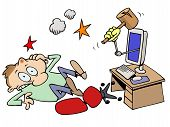 image of blue-screen-of-death  - A toon character knocked out by a computer with a wooden club coming out of the screen - JPG