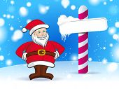 santa with frozen road sign with blue winter background