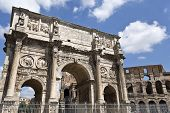 Arch Of Constantine And Colosseum Or Coliseum