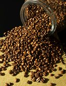 Coffe beans and a jar