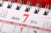 Macro Chinese Calendar 2015 - July with Chinese number word