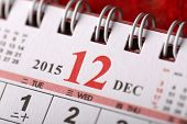 Macro Chinese Calendar 2015 - December with Chinese number word
