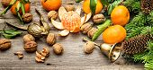 Mandarine Fruits, Walnuts And Christmas Tree Branches